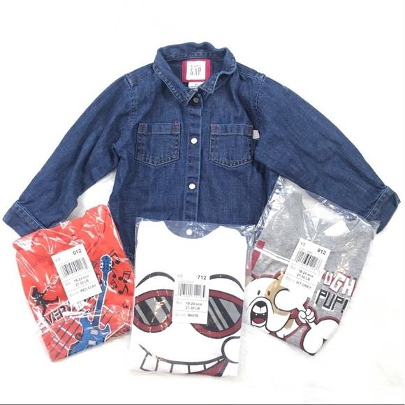 Other - Graphic Tees + GAP Denim Shirt Size 18-24M